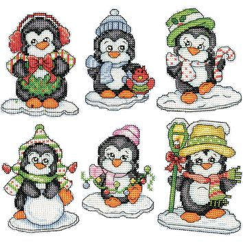 "Penguins On Ice Ornaments Counted Cross Stitch Kit 3.5"" 14 Count Set Of 6"