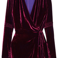 Attico - Crushed-velvet wrap mini dress