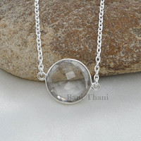 Crystal Quartz 15mm Beautiful Round Faceted 925 Sterling Silver Necklace Jewelry #1751