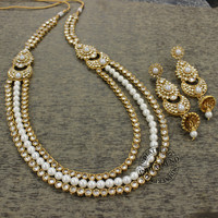 SHAHINA 3 ROW NECKLACE EARRINGSSET Gold Tone Faux Pearl Cut Polki