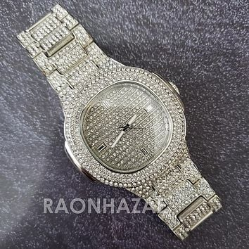 Raonhazae Hip Hop Iced Lab Diamond 14K White  Gold Plated Watch with Stone