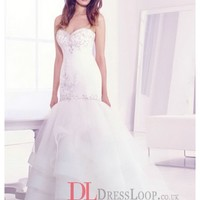 Beaded Elongated Bodice Tiered Tulle Skirt Organza Bridal Gown LL4401