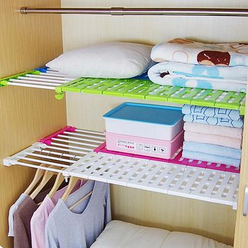 SN016 kitchen organizer shelf separator kitchen closet storage shelf free nail bathroom shelving scalable partition shelves
