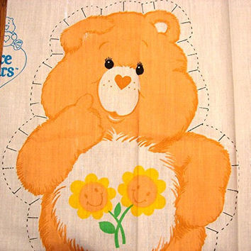 The Care Bears Fabric Panel 1980s Care Bear Cotton Fabric Sewing Panel Stuff and Sew Pillow FRIEND BEAR