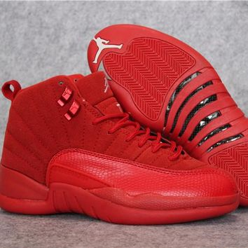 bcd441b4a9a0 Air Jordan 12 Retro AJ 12 Red Buckskin Men Women Basketball Shoes
