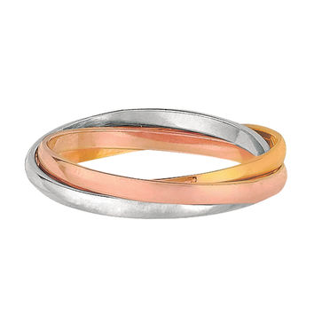Sterling Silver With Tri Color White Yellow And Rose Finish Interconnected Trinity Band Ring