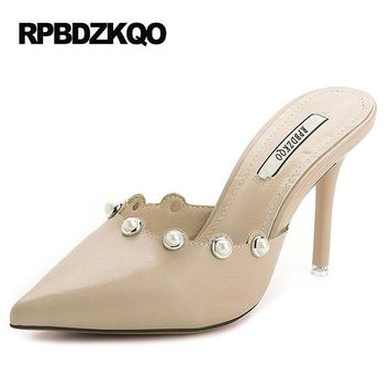 Nude Jewel Rhinestone Size 4 34 Crystal Shoes Women 2017 Summer Slides Leather High Heels Sandals Small Mules Slipper Stiletto