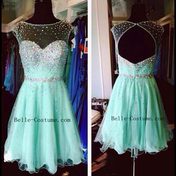 Short Prom Dress, Short Prom Dresses, Open Back Homecoming Dresses