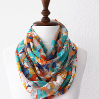 Colorful Infinity Scarf - Loop Scarf - Circle Scarf - Cowl Scarf - Spring Summer