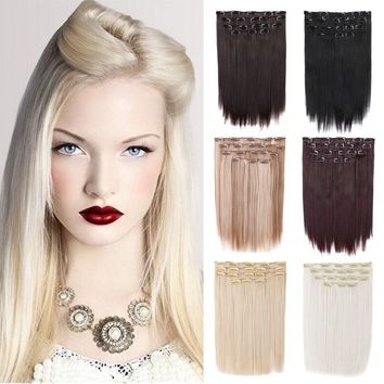 15 inch Straight Clip in Hair Extensions Creamily 8Pcs Synthetic Hairpieces 7 Colors Available