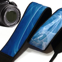 Abstract Design Camera Strap. Dslr Camera Strap. White Blue Camera Strap.   Accessories