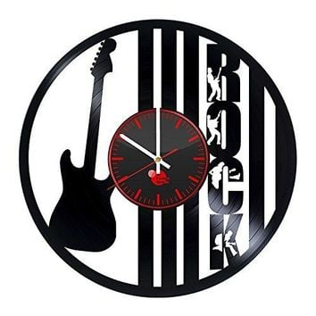 Guitar Gift for Him Handmade Vinyl Record Wall Clock Vintage Unique Art Design Decor
