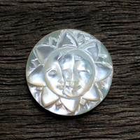 Sun, Moon Face, Carved Mother of Pearl