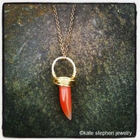 Saber Tooth Carnelian Stone Ring Necklace	 from Kate Stephen Jewelry