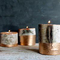 Trio of Metallic Gold Dipped Birch Log Tree Tea Light Holders, Christmas Candle Decor, Winter Holiday