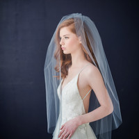 Double tier tulle bridal veil with extra long blusher
