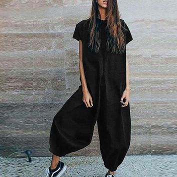 Women Casual Short Sleeve Loose Fit Jumpsuit Pants (Black Navy Khaki)