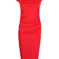 Red Short Sleeve Ruched Bodycon Midi Dress
