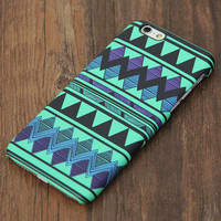 Turquoise Green and Black Aztec Design iPhone 6 Case/Plus/5S/5C/5/4S Protective Case #725