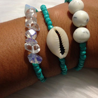 Beaded turquoise trio. Seed beads. Moonstone. Cowrie shell.