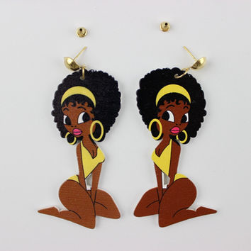 Brazil Fashion Night Club Jewelry Personality Hip Hop Wooden Sexy Girl Earrings For Women