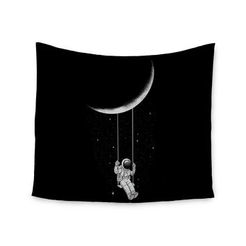 "Digital Carbine ""Moon Swing"" Black Fantasy Illustration Wall Tapestry"