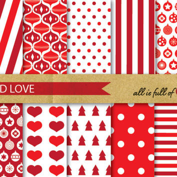 RED XMAS Digital Paper Pack Christmas Scrapbooking Printable Backgrounds
