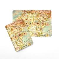 Lets Explore World Map [Name Customized] Leather Passport Holder/Cover/Wallet_SCORPIOshop