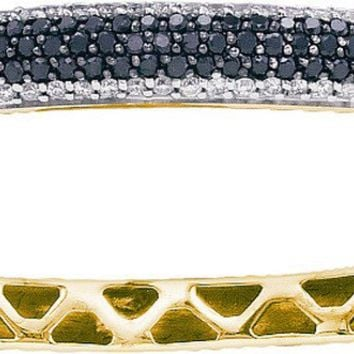 14kt Yellow Gold Womens Round Black Colored Diamond Bangle Bracelet 1-1/2 Cttw
