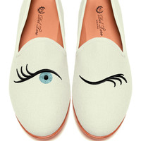 Prince Albert Bone Canvas Slipper Loafers With Winking Eye Embroidery by Del Toro - Moda Operandi