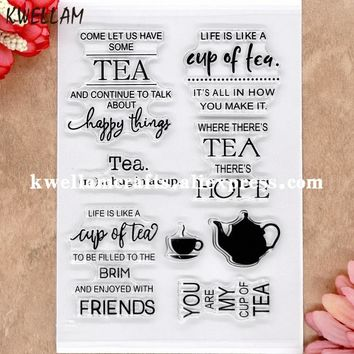 TEA FRIENDS happy thins HOPE Scrapbook DIY photo cards rubber stamp clear stamp transparent stamp 11x16cm 8072607