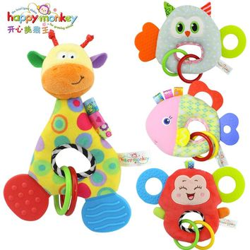Baby Toy 0-12 Month Plush Stuffed Animals Teeth Teether Towel Hand Rod Rattle Mobile Educational Doll For Infant Newborn Babies