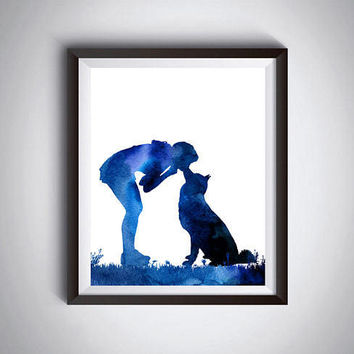 Modern wall decor Dog print Woman with Husky Kissing the dog Poster print Minimalist art Printable art Pet artwork Pet loss gift Dog art