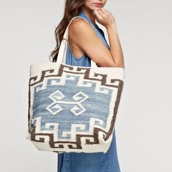 Navajo Inspired Large Artisan Tote Bag
