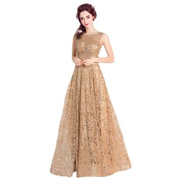 New Luxury Gold Evening Dress Brilliant Sleeveless Sequined Floor-length Long Prom Formal Dresses Banquet Party Gown