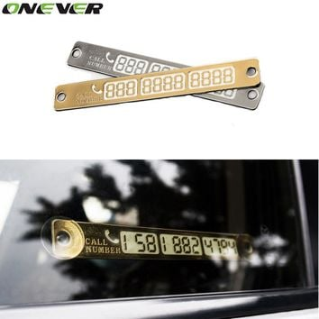 Car Temporary Telephone Number Parking Card 15*2cm Silver Gold Notification Night Luminous Sucker Plate Phone Number Card