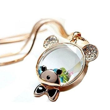 Basket Hill Watches And Gifts Women's Clear Teddy Bear Head Necklace W/ Float...