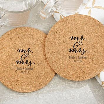 Personalized Round Cork Coasters - Mr. and Mrs. (Set of 12)