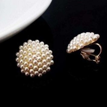 Pearl Bead Cluster Clip-On Earrings