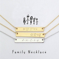 Family necklace For mother Personalized necklace Sister gift For women, for friend Customized bar necklace for Mom, Meaningful gift / N345