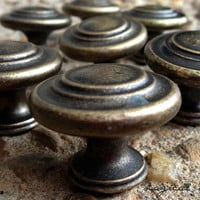 Weathered Brass Knob / Dark Patina Gold 3 Ring Knob /Cabinet Dresser Drawer Hardware / Pull Knob