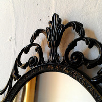 Dark Fairy Tale Mirror - Ornate Vintage Frame in Jet Black - 10 by 7 inches