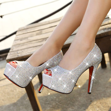 Milanblocks Crystal Wedding Luxury Pumps Silver Gold Red Black