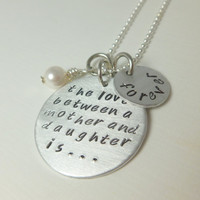 Personalized mother necklace. Mothers Day ,love between mother and daughter  is forever. Hand Stamped