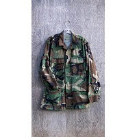 Military Army Camo Jacket Vintage Slouchy Grunge Button Down All Sizes