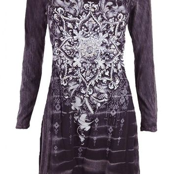 Vocal Women Tie Dye Tunic Dress Long Slvs Shark Bite Bottom Crystal Cross Detail