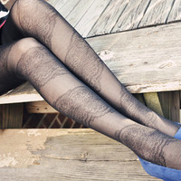 Black Lace Patterned Tights
