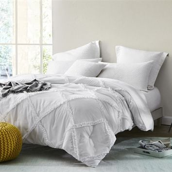 White Gathered Ruffles - Handcrafted Series - Twin XL Comforter