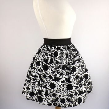 Black and White Doves Skirt / Mexican Dove Skirt