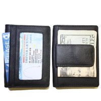 Fine leather bifold wallet with money clip card id holder (black)